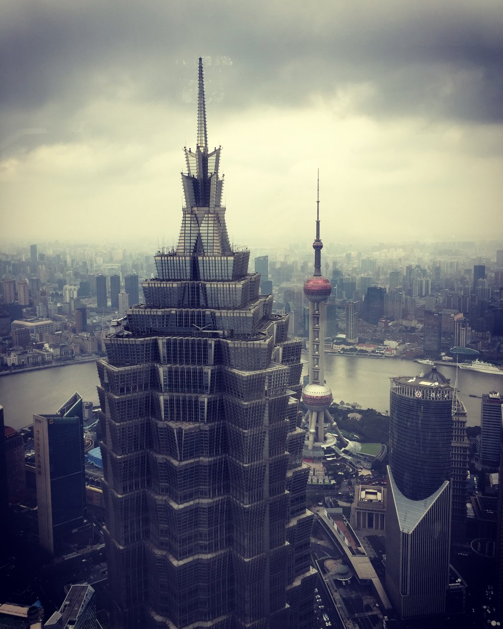 The view from the Park Hyatt Shanghai lobby. Photo from my own collection. November 2016.