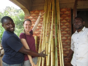 Brian, Laurel and Amos show off their bamboo poles