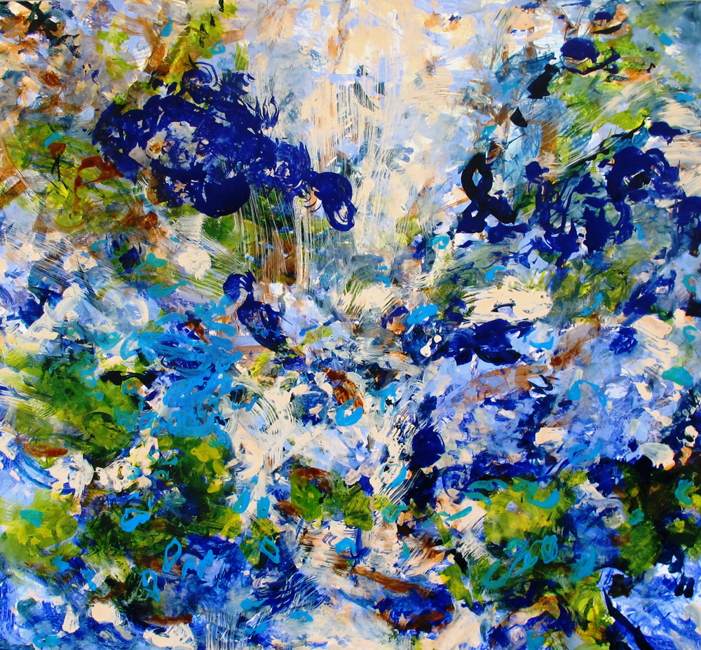 Blue Summer, acrylic, ink and pigment on wood, 2011, 48''x52''