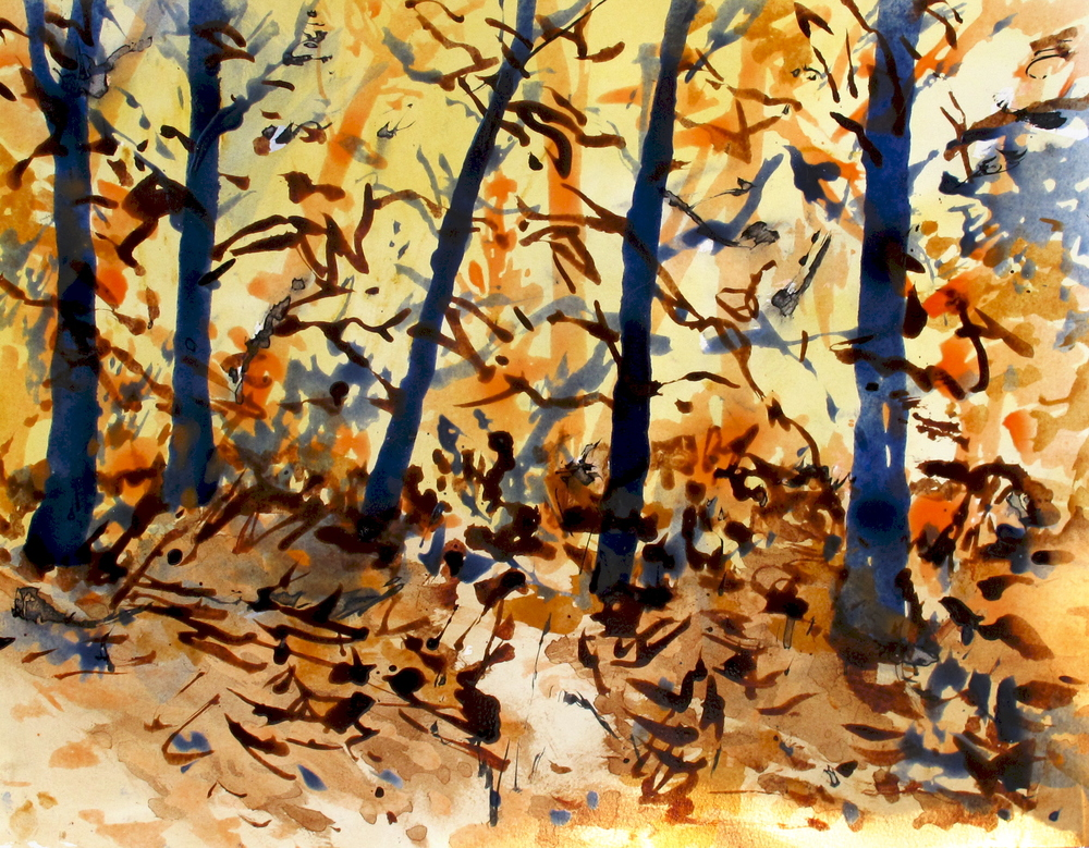Woods 1, acrylic and ink on paper, 2010, 18''x20''