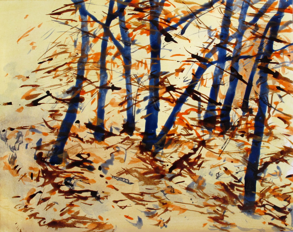Woods 2, acrylic and ink on paper, 2010, 18''x20''