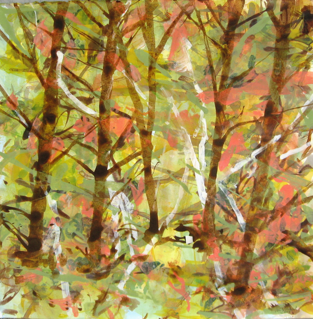 Through the Trees, acrylic and ink on paper, 2010, 18''x18''