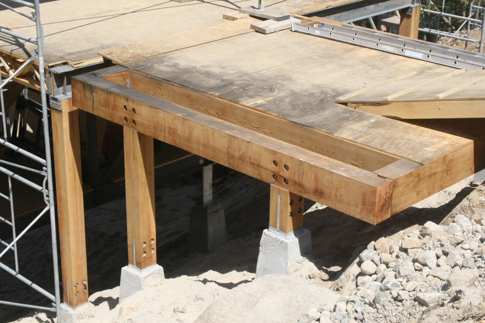 Heavy timber entry bridge ready for decking