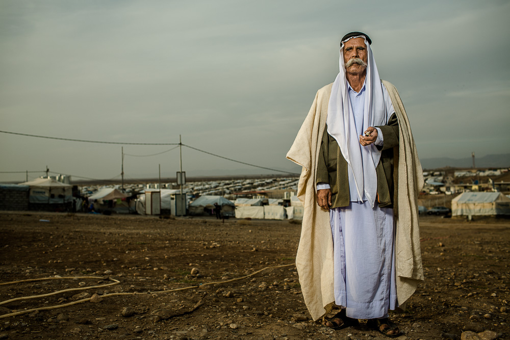 """I volunteered with the Sinjar force in the mountain for 3 months after Daesh came as a guard. I learned how to fight when I worked for the Iraqi army for 6 years during the war with Iran.""    Haji is a Yazidi refugee from Sinjar mountain living in Khanke refugee camp in northern Iraq."