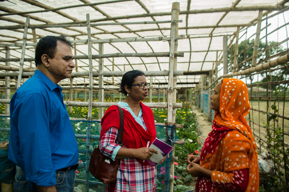 After receiving training funded by USAID, Sajeda, a flower farmer in southern Bangladesh, doubled her production and income.  Photo by Josh Estey
