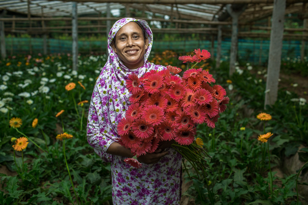 After receiving training funded by USAID, Sajeda, a flower farmer in southern Bangladesh, doubled her production and income. Photo by Morgana Wingard