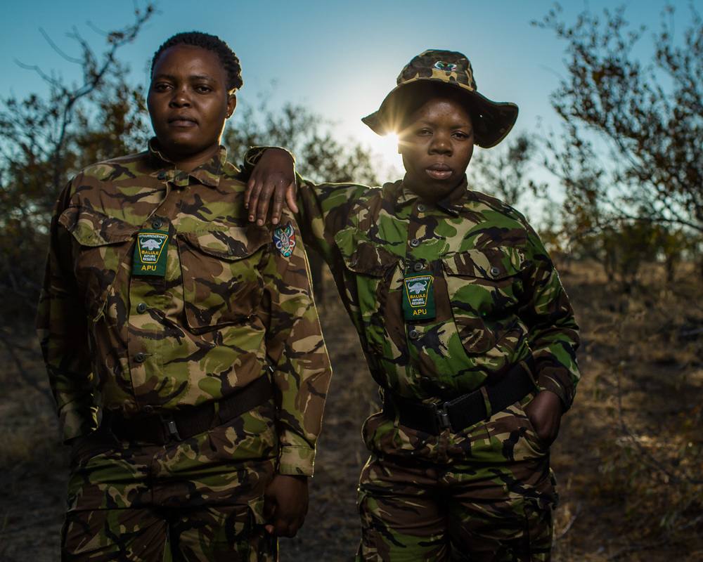 Dedeya Nkwinika and Proud Mkansi, Felicia Mogakane, members of the Black Mamba anti-poaching unit in Balule Game Reserve.