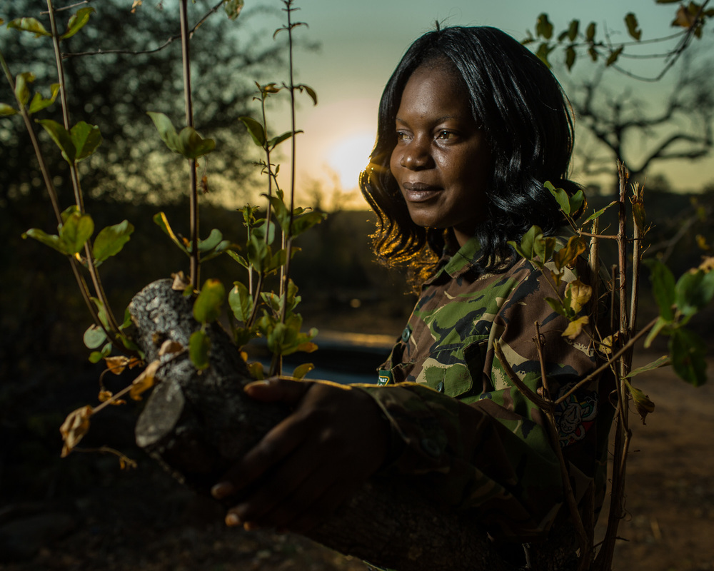 Winny Nyathi, a member of the Black Mamba anti-poaching unit in Balule Game Reserve.