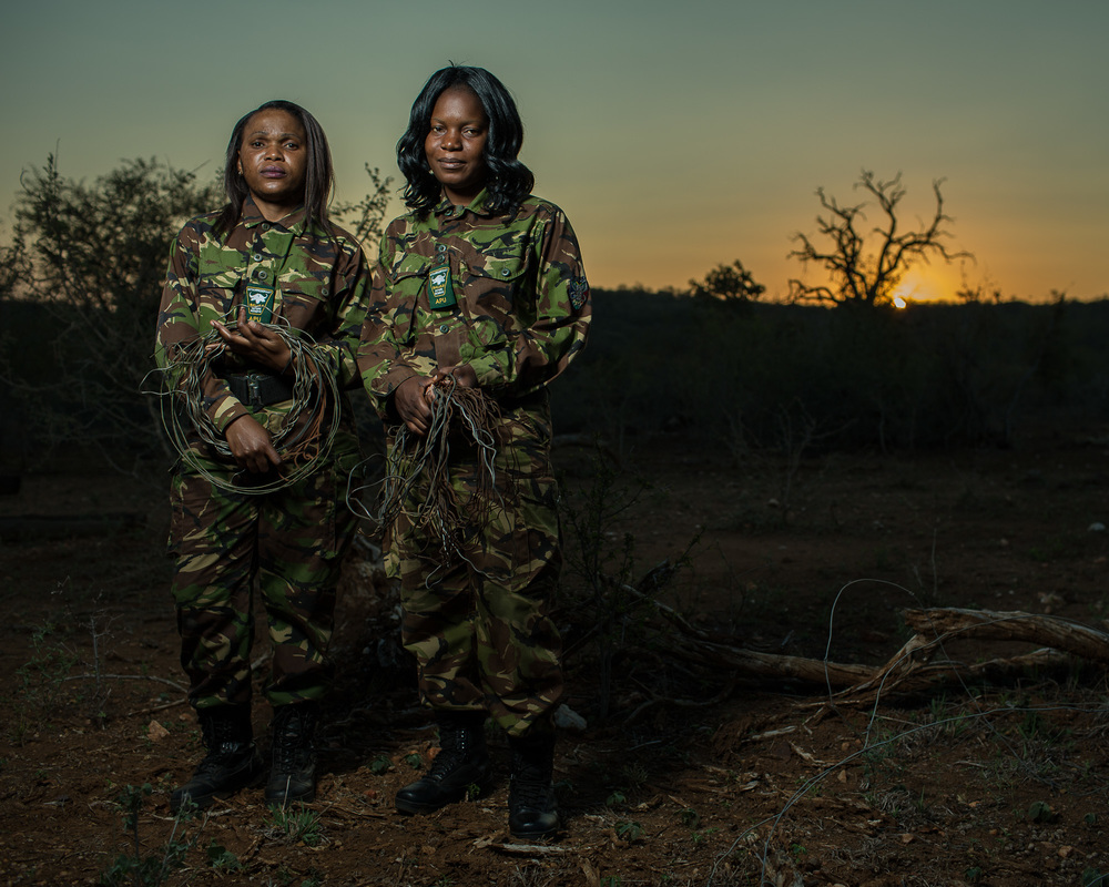 Lukie Mahlake and Winny Nyathi, members of the Black Mamba anti-poaching unit in Balule Game Reserve.