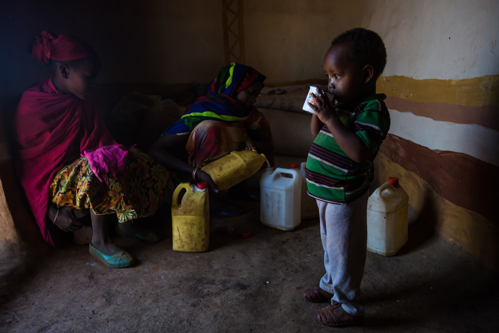 Kenanisa Wako drinking milk