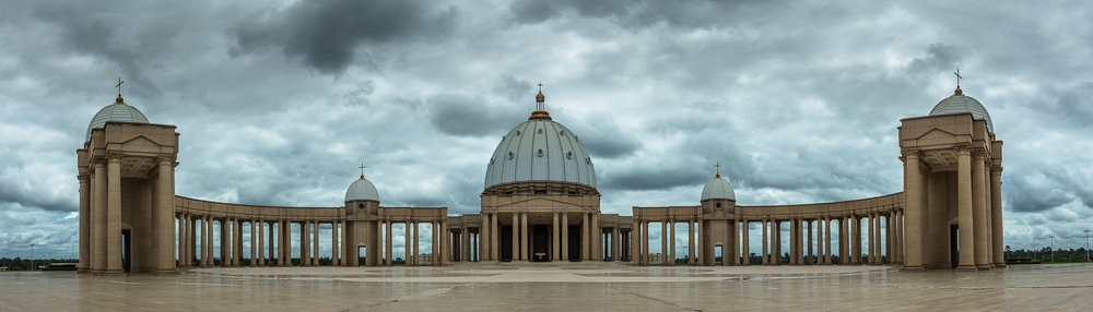 The Basilica of Our Lady of Peace in  Yamoussoukro , the administrative capital of  Côte d'Ivoire  (Ivory Coast).
