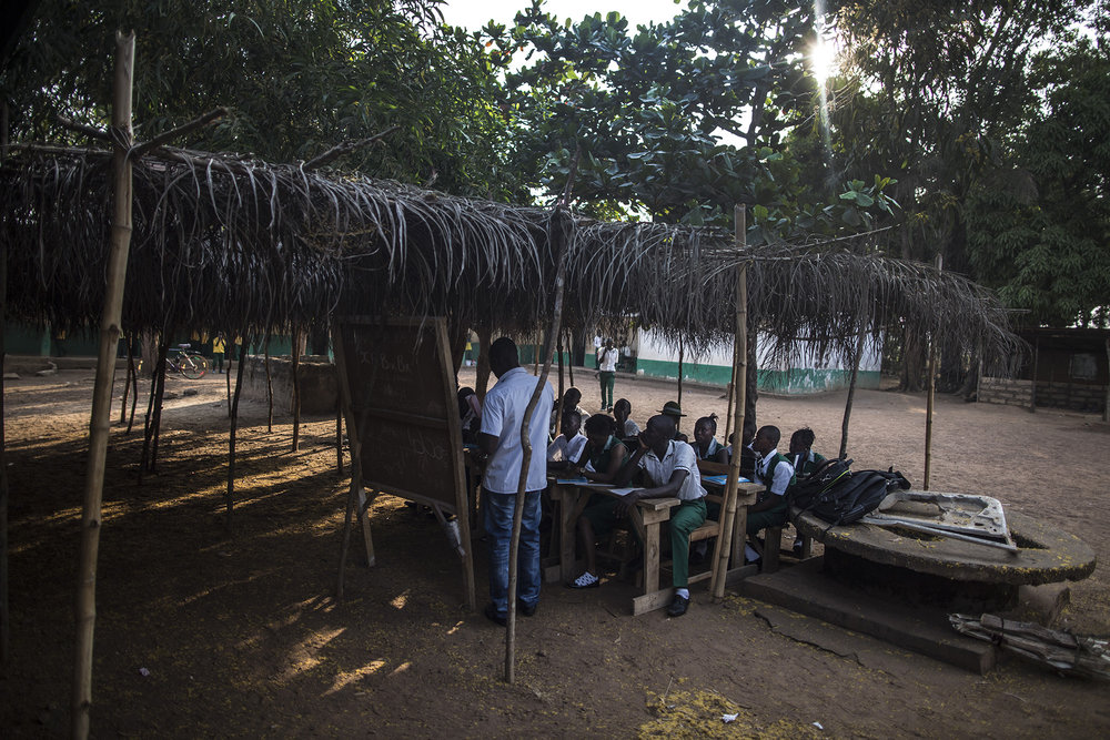 Students attend Kubra Agricultural Secondary School in Rokupr, Sierra Leone
