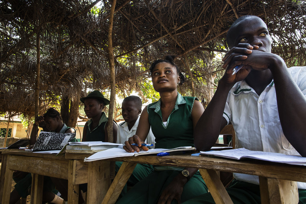 Mariatu Bangura, 18, of Rokupr, second from right, attends Kubra Agricultural Secondary School.