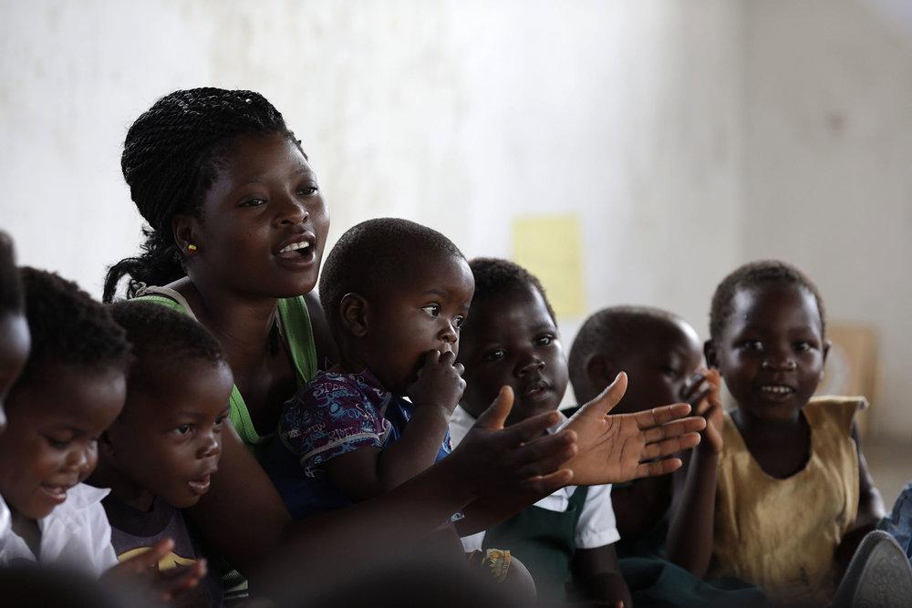 Children sing songs at Children's Corner.Photo by Josh Estey.