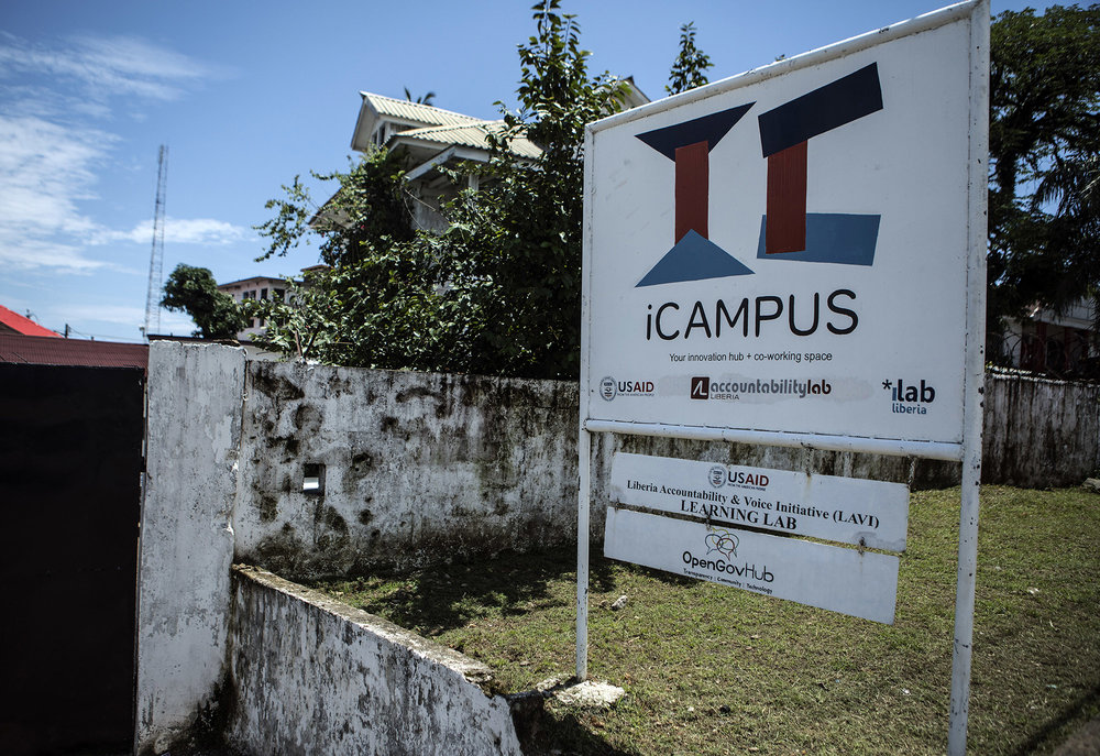The Accountability Lab building located inside the iCampus in Monrovia, Liberia. iCampus is a shared working space for organizations who focus on technology, accountability and social change in Liberia. It is a focal point for open governance work. Photo by Sarah Grile.