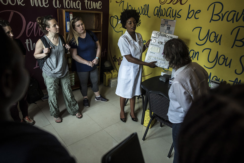 LUSAKA, ZAMBIA: Feb. 19, 2018 - Nurse Irene Kasango talks to the CARE Learning Tour to Zambia delegation about the contraceptives that are given out at the DREAMS Center in Lusaka. Photo by Sarah Grile.