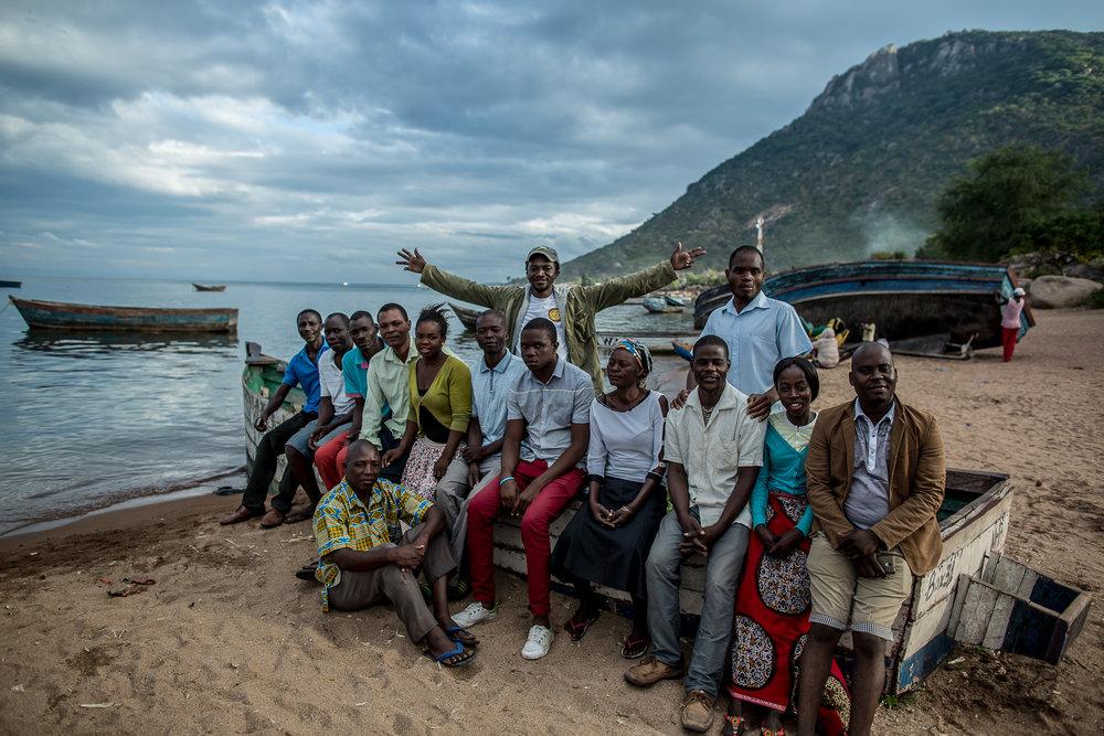 BVC Members on the shore of Lake Malawi at Masaka Bay