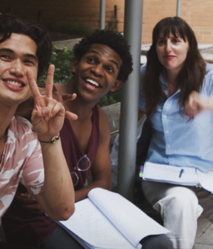 Charles Melton (Daniel) with his on screen BFF Camrus Johnson (Omar) and director Ry Russo Young