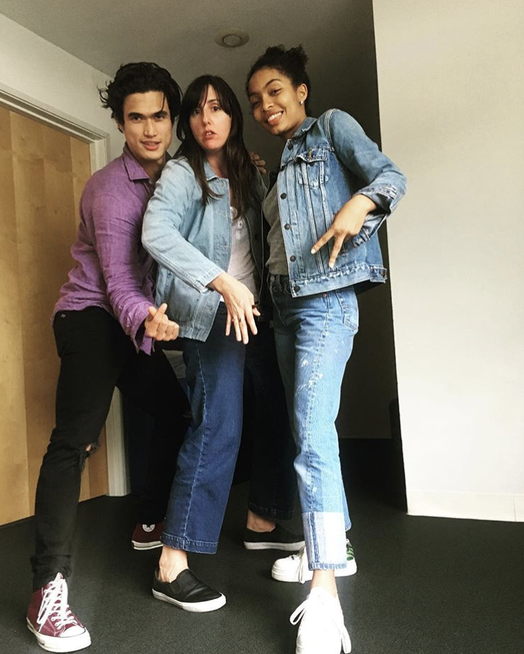 Charles Melton (Daniel), director Ry Russo Young, and Yara Shahidi (Natasha) playing/rehearsing!