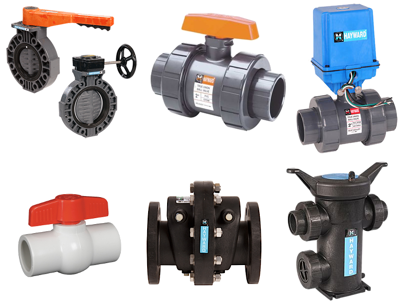 Includes plastic valves, actuators, filters, strainers and pumps.