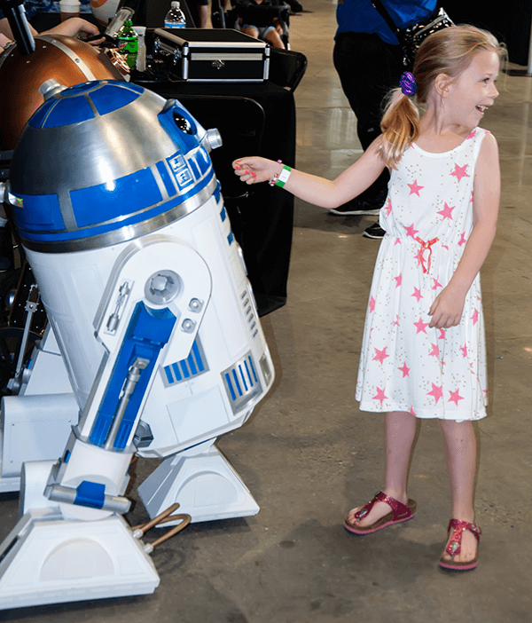 From Escape Velocity, 2018  If you've attended Escape Velocity in the past, you've probably run into R2-D2 in the Exhibit Hall!