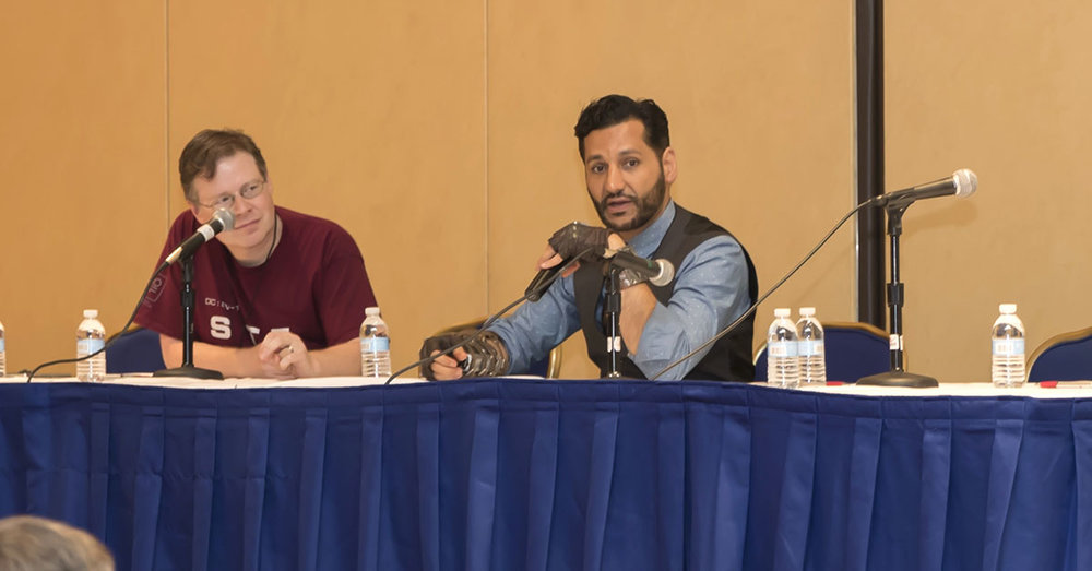 Actor Cas Anvar, who plays Alex Kamal, the Martian pilot of the  Rocinante , spoke at Escape Velocity in 2017.