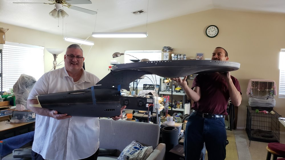 Kurt Kuhn (L) and Dan Grumeretz with The Motion Picture Enterprise NCC-1701 Refit replica under construction in Arizona - January 2019