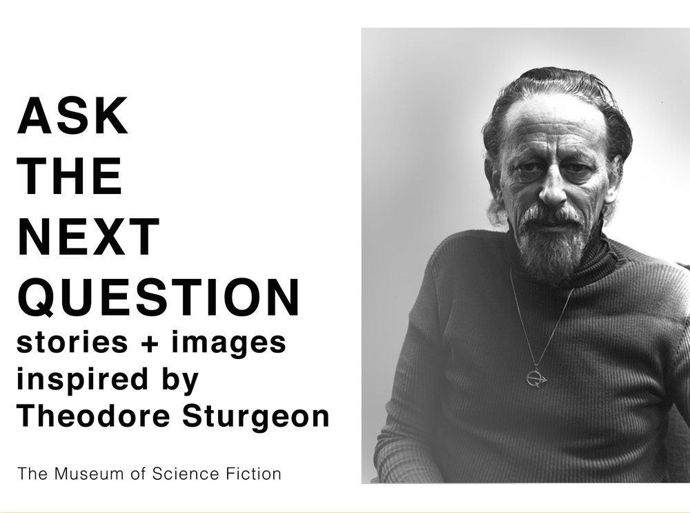 "Image of Sturgeon wearing his  ""Ask the next question""  necklace, courtesy of the Theodore Sturgeon Literary Trust."