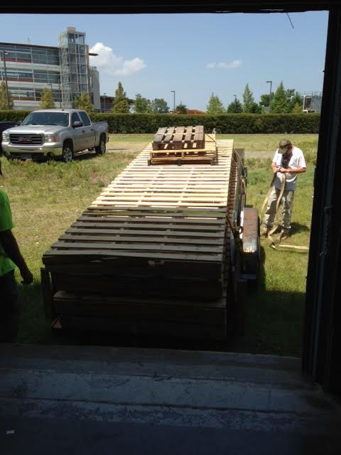 Pallets being delivered for Pop Up in the Rock.