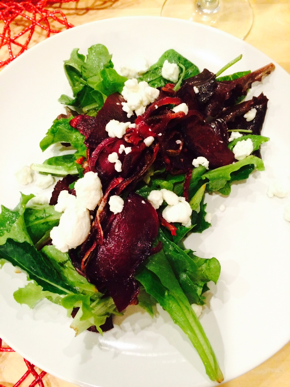 Roasted Beet & Goat Cheese Salad w/ Honey Truffle Vinaigrette, from Shiso Kitchen Valentine's Date Night Menu