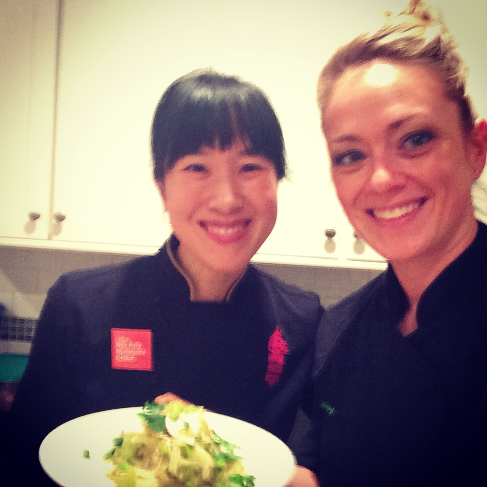 Chef Joanne Chang  of Myers + Chang ,  Flour Bakery & Chef Jessica Roy of Shiso Kitchen for UberCHEF event, Edamame, Shaved Celery & Fennel Salad (recipe- Joanne Chang)