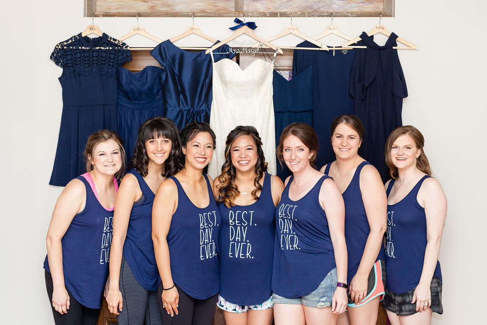 Melissa's mother in law hand made all bridal party tanks and hangers!