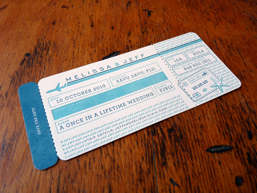 Boarding pass-themed wedding invites for my travel agent pal, Summer Solstice.