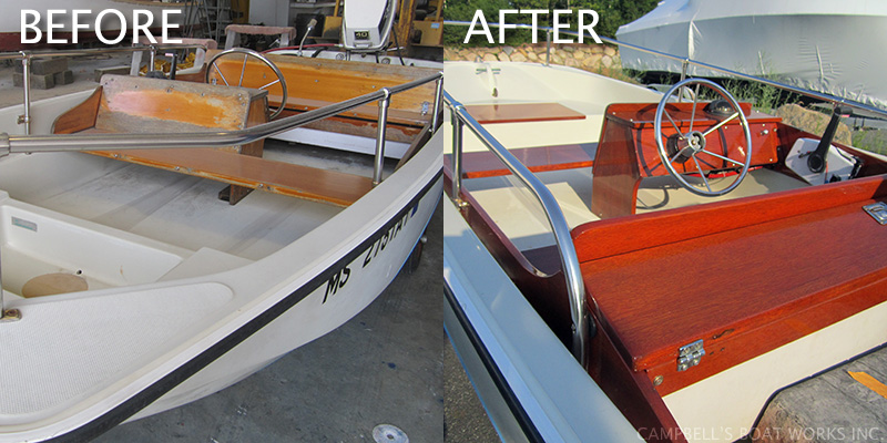 Before and After Repaired and Refinished Brite Work 13' Boston Whaler
