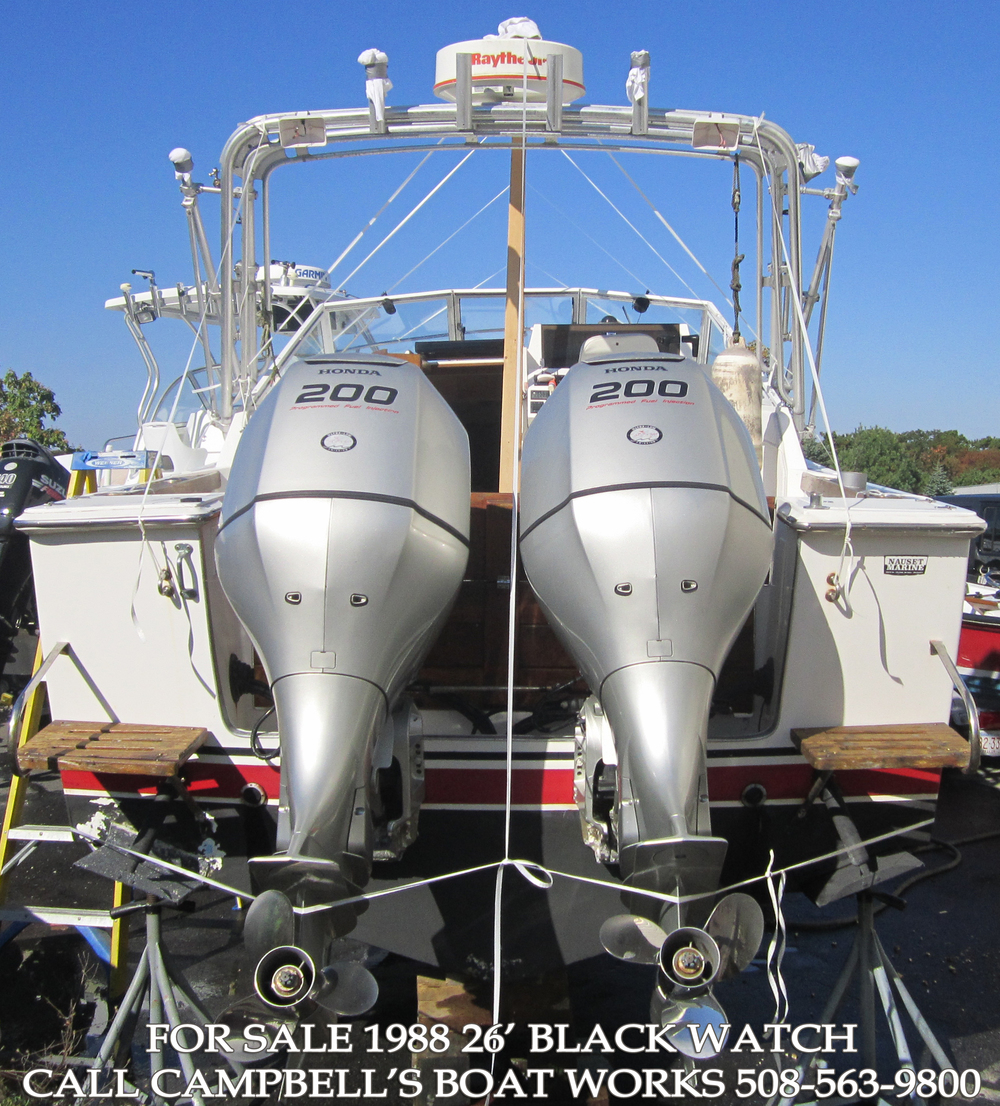 26' Black Watch Boat For Sale! Re-powered with twin four stroke Hondas with less than 70 hours on them. Ready to fish this summer! Call us for more information or to come view this boat. 508-563-9800
