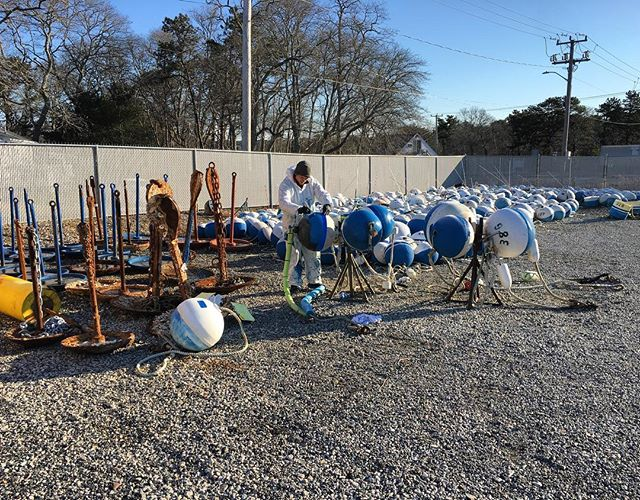 It must be Spring, we're painting mooring buoys. They'll start going in the water on Monday!  #mooringbuoy #springboating #capecod #baymarineandmooring