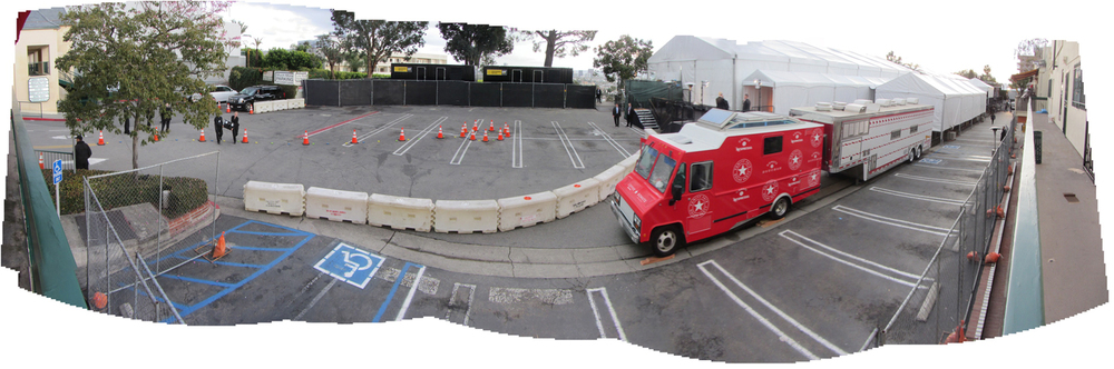 Guest exit area and In-n-Out Burger and Nespresso trucks
