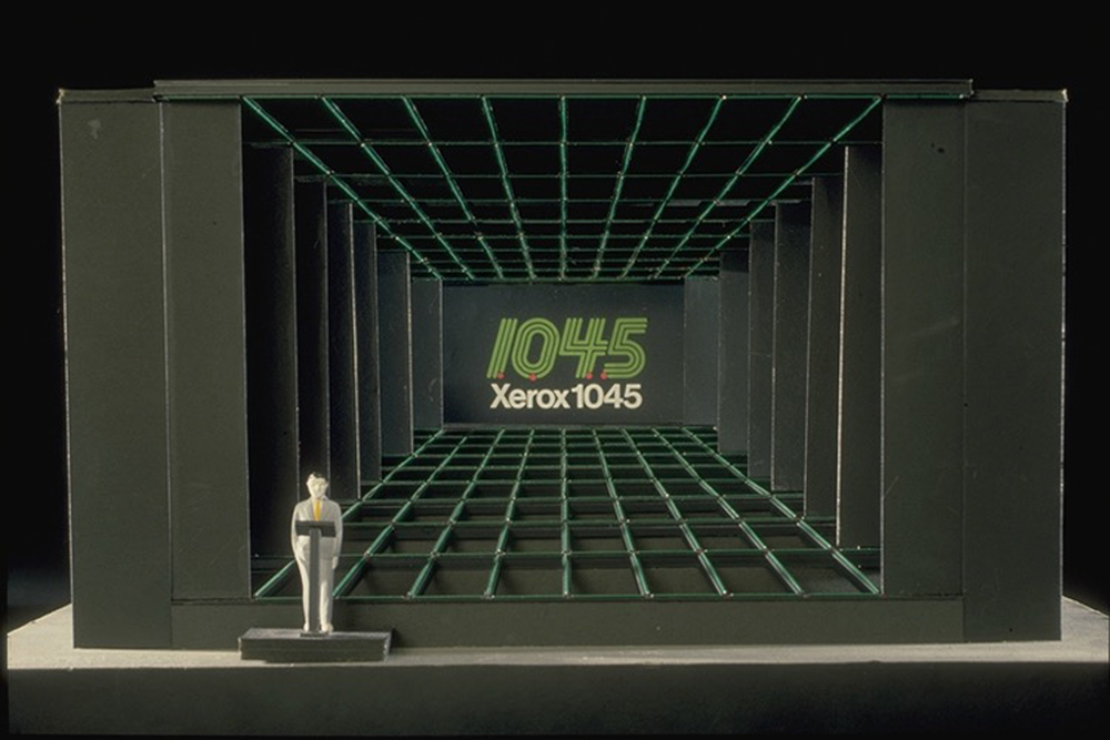 Xerox 10 Series Launch - Studio 3D Model - Product tracks across stage and speaker riser tracks across forestage.