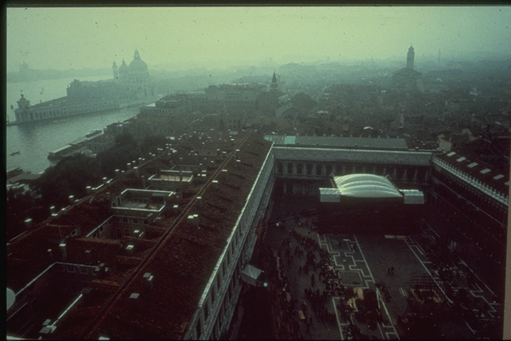 Paul McCartney - St. Marks Square, Venice - The first inflatable roof structure (Design with Bill Harkin - Photo credit: Ron Reid)