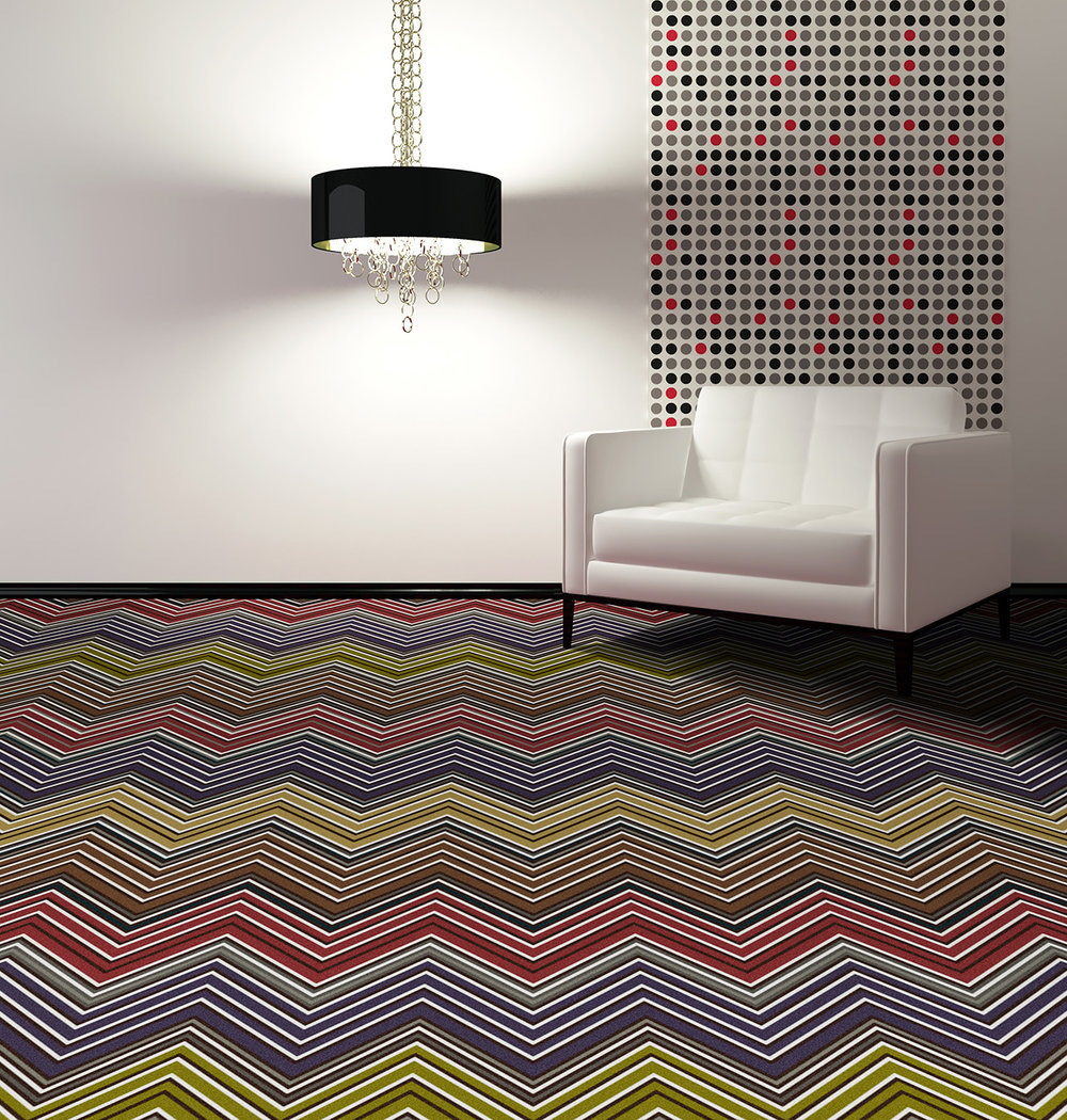 "Pattern #5524                                                            Pattern Name: Ziggity Zag  Pattern Repeat: 12"" x 72""  In Stock"
