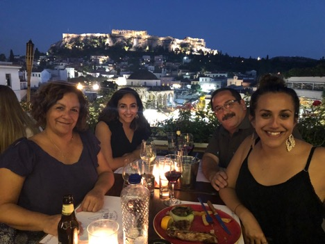 My family and I having dinner during our last night in Greece.