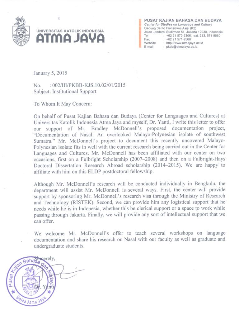 Atma Jaya University Support Letter