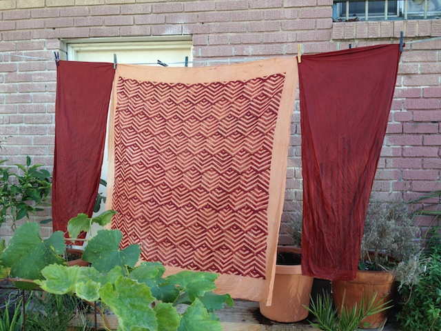 block printed madder on the clothesline