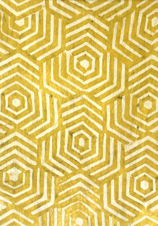 Weld Dyed Linen Block Print Reseda Luteola
