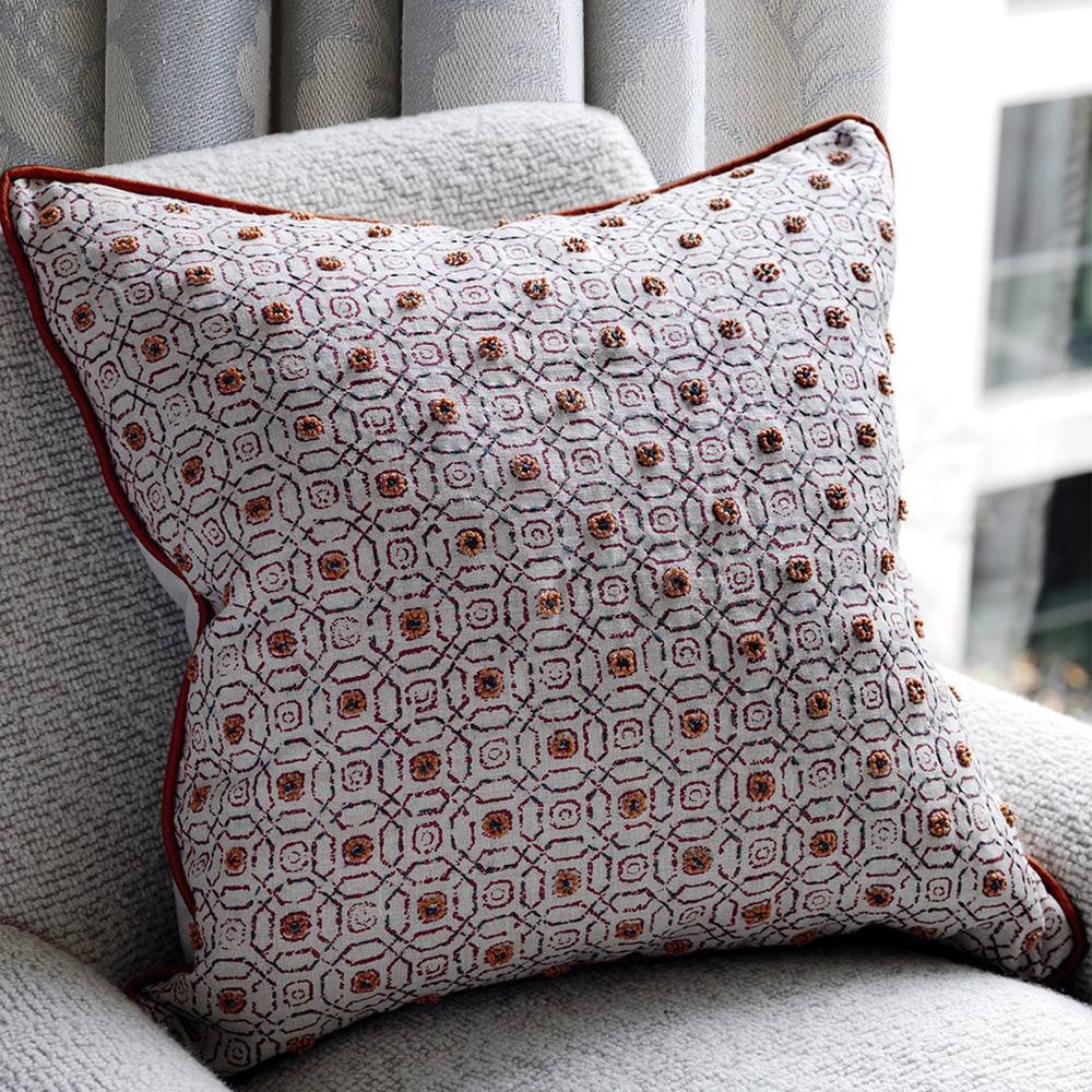 <p>BLITHFIELD STRATFORD  - Chili cushions embellished with French knots</p>