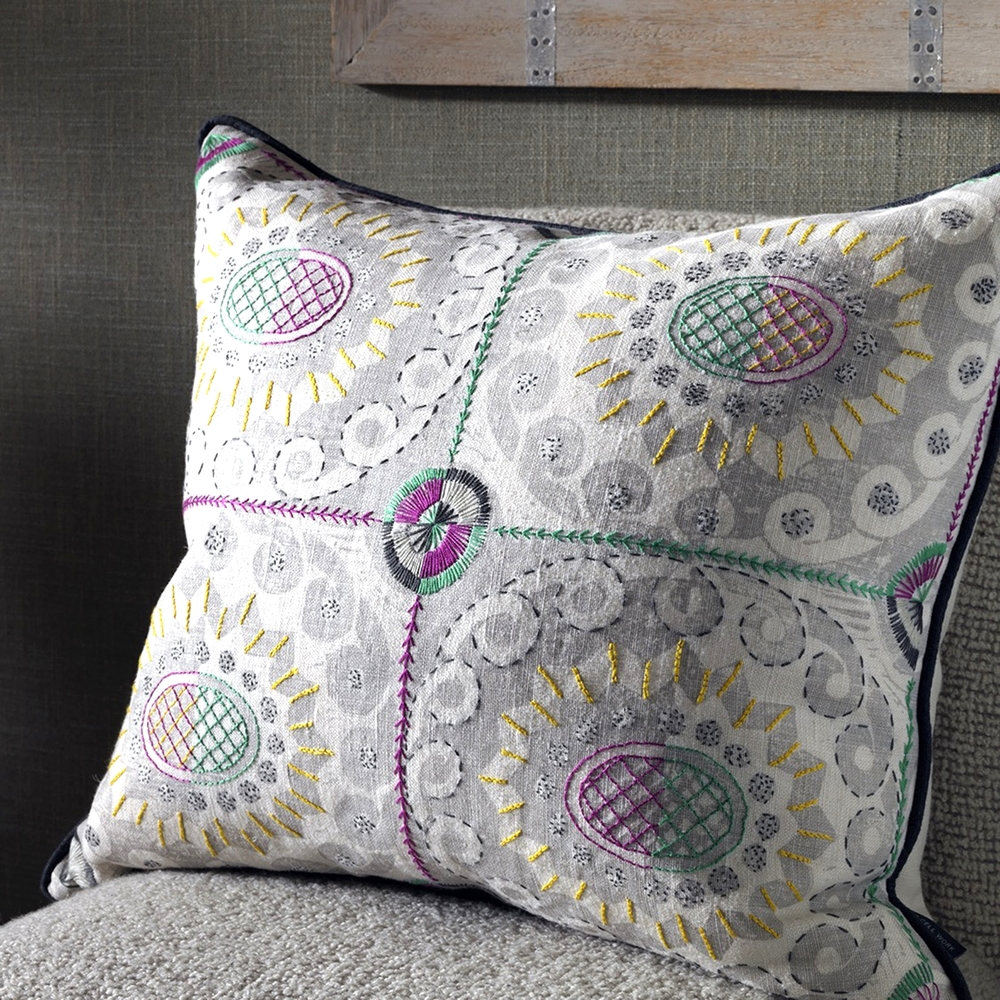 <p>BLITHFIELD PEGGY ANGUS PINEAPPLE  - Taupe cushion embellished with embroidery</p>