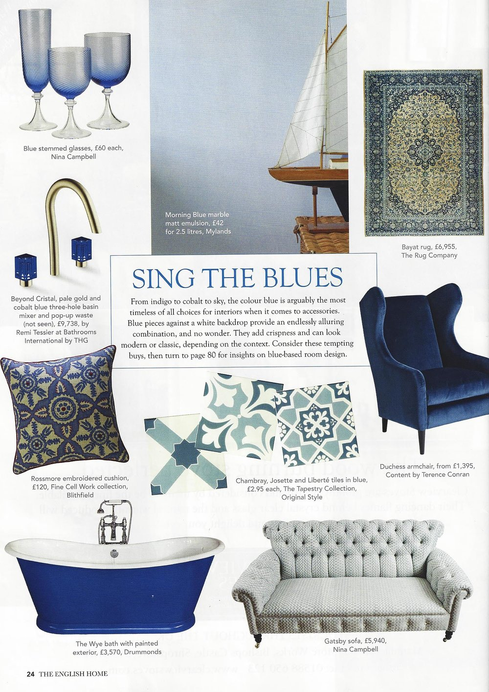 The English Home - Feb '17 - Page 24 - 'SING THE BLUES' - Fine Cell Work - Rossmore Cushion  1.jpg