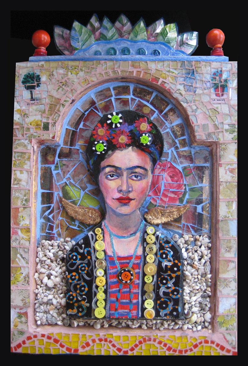 """Frida""mixed media mosaic"