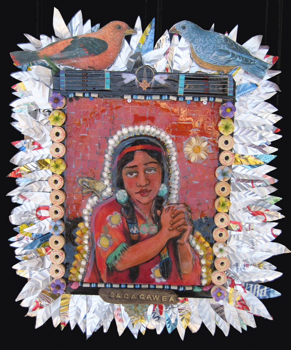 """Sacajewea"" mixed media mosaic"
