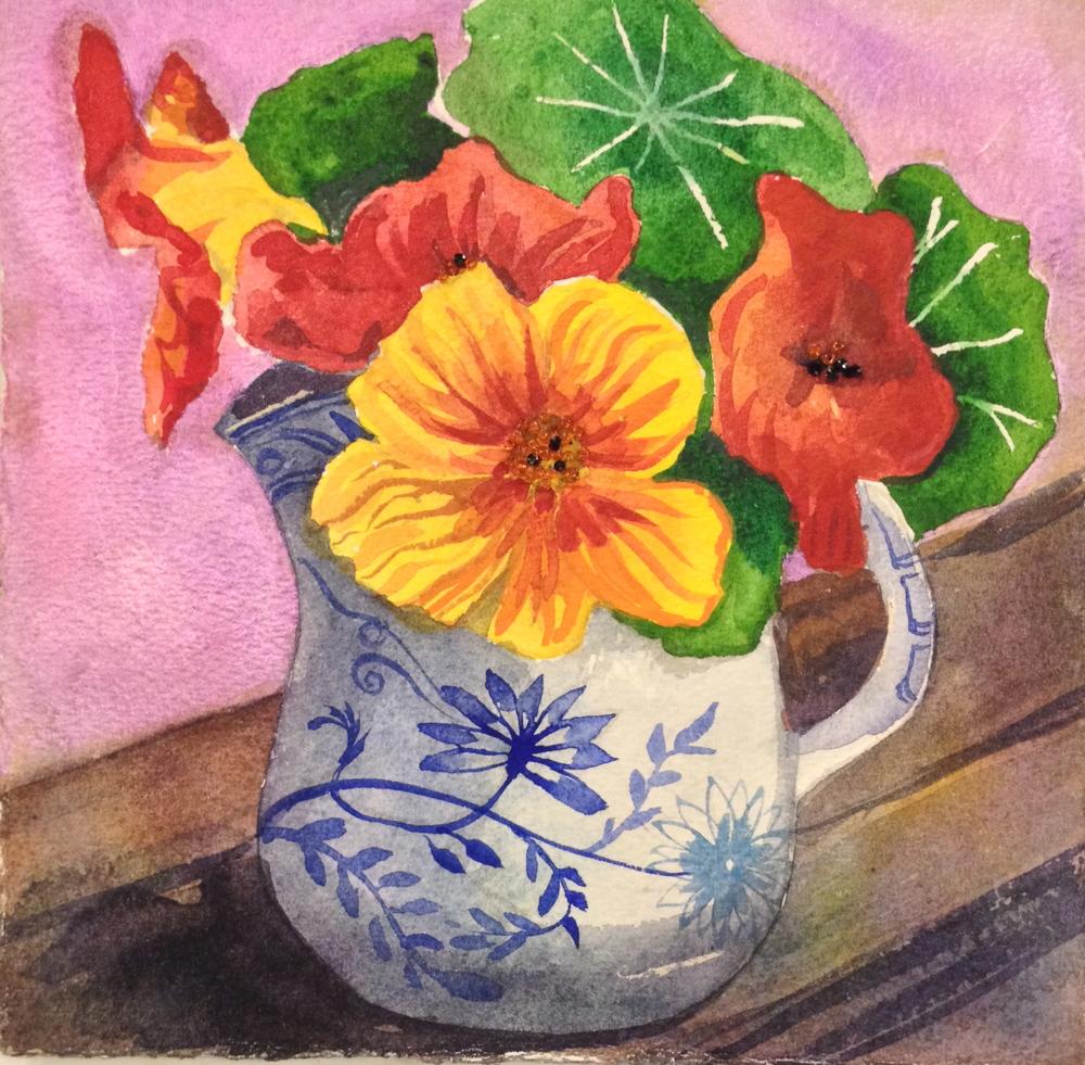"Nasturtiums 8""x8""watercolor"